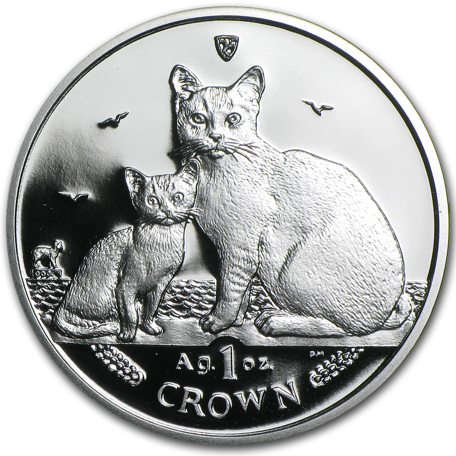 Isle of Man 2008 1 Crown Silver Proof Burmilla Cats